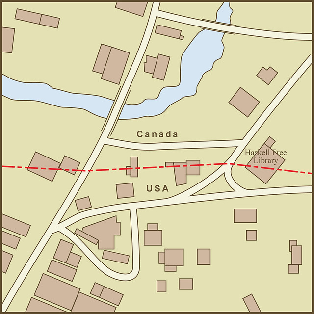 International border crossings page 474 skyscrapercity a map of the border between the usa and canada as it passes through the town of derby line vermont por amproehl en flickr sciox Images