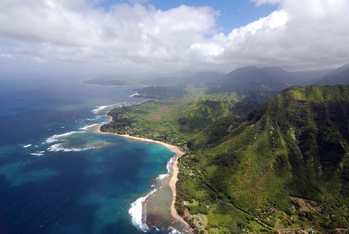 Ke'e beach, via helicopter