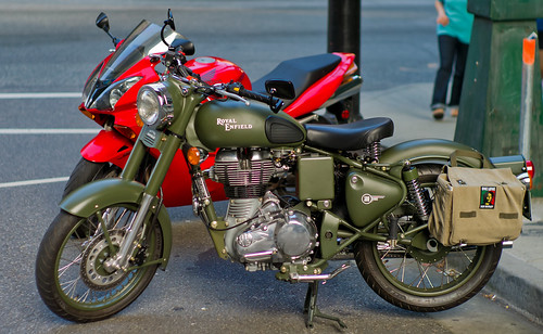 Royal Enfield and a red Honda