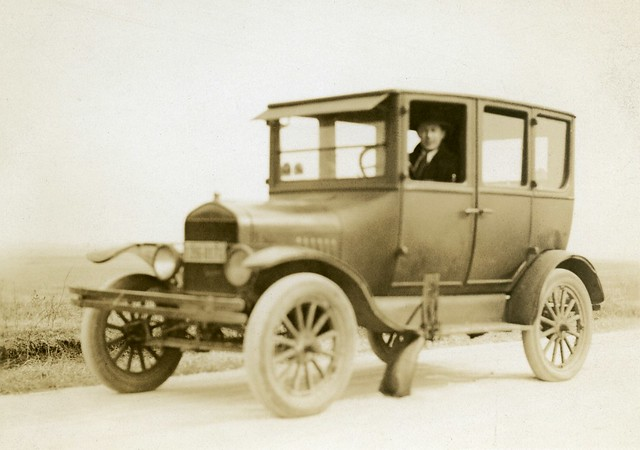 joe in a circa 1925 ford model t 4 door sedan out of