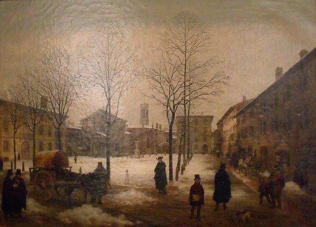 Angelo Inganni, Vue de la Place Borromeo de Milan sous la neige fondante