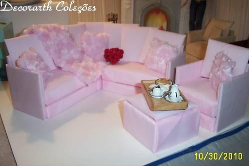 Casa da barbie conj sala de estar rosa sof s poltrona for Sala de estar barbie