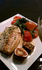 Dinner tonight: GA Trout with Blue Cheese Figs & Arugala Salad with Grilled Tomatoes and Peaches