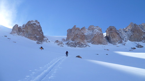 Lorenzo and Oliver skiing up cerro parva