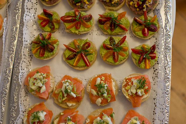 Finger food Wedding reception Homemade bagels with lox guacomole vegan