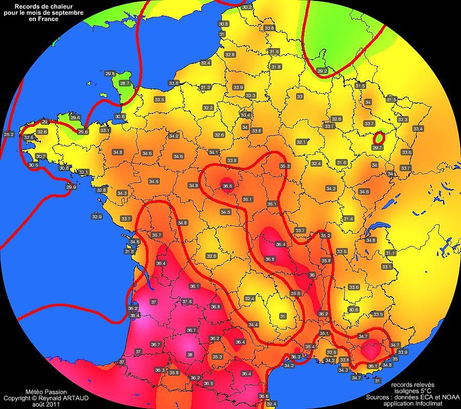 records de chaleur des températures maximales pour le mois de septembre en France Reynald ARTAUD météopassion