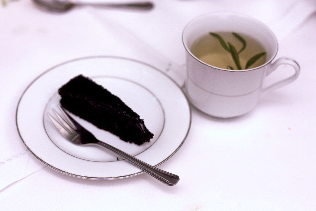 chocolate cake and tarragon tea