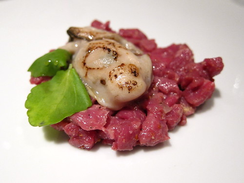 Beef tartare, warm oyster