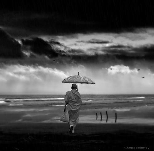Monk in Rain