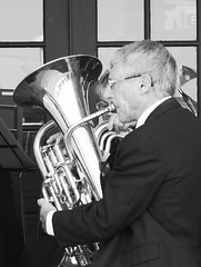 musician, tuba, trumpet, music, monochrome photography, horn, euphonium, monochrome, brass instrument, black-and-white, wind instrument,
