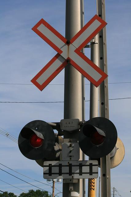 Cross the railroad tracks