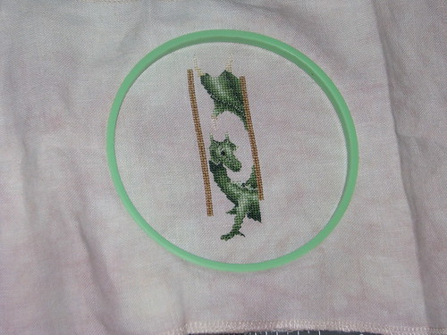 Cross Stitch WIP Green Dragon Bookmark