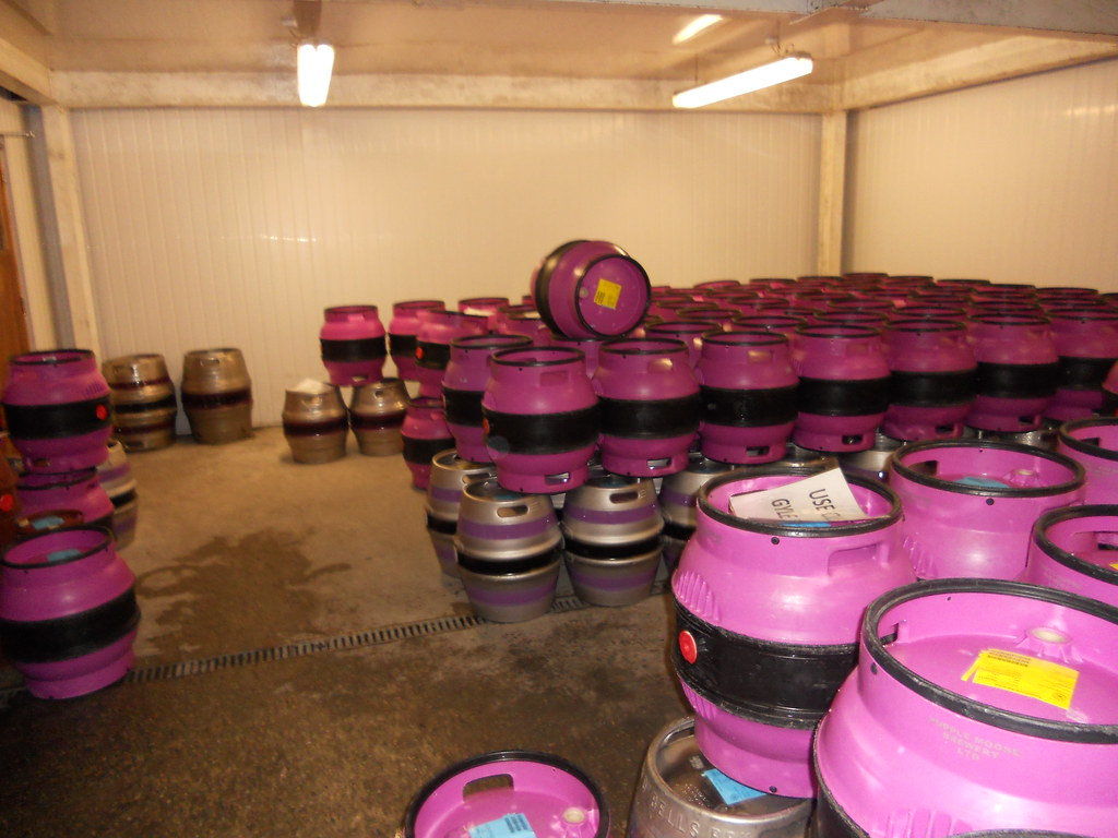 A room full of Purple Moose casks