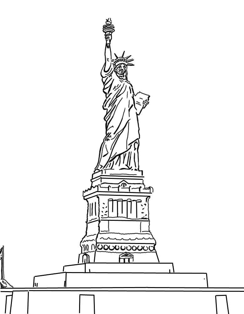 Bonito Estatua De La Libertad Para Colorear Página Para Niños ...