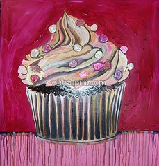 Chocolate Cupcake with Cotton Candy Sprinkles in Fuschia