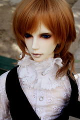 hime cut, face, hairstyle, brown, clothing, head, hair, long hair, brown hair, blond, costume, wig, doll, eye, toy,