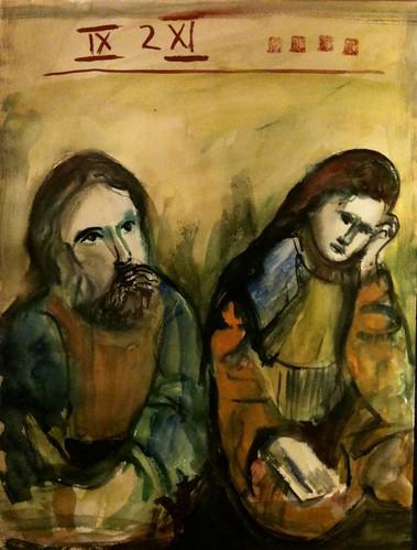 couple from abbey Altzella, watercolor 30x40cm, @_blacha_