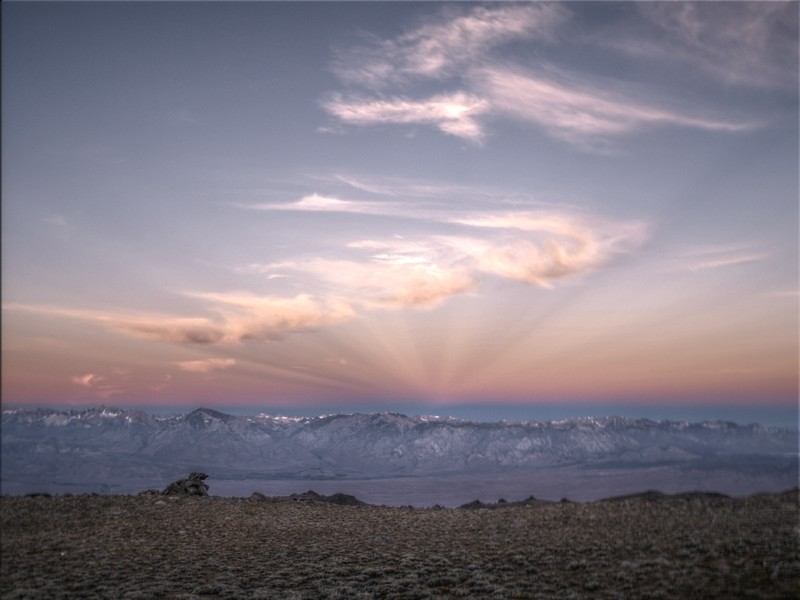 HDR of the sunrise and anti-crepuscular rays over the eastern Sierra Nevada. The Range of Light with Rays of Light!