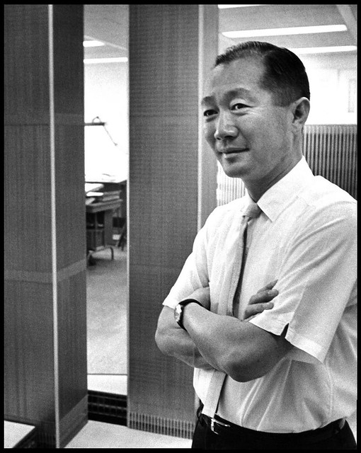MINORU YAMASAKI -- Standing with His Models of the WORLD TRADE CENTER