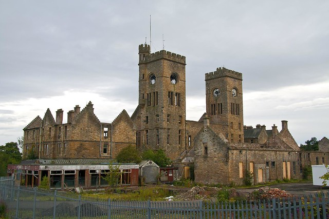 Hartwood Hospital's main building with twin clock towers