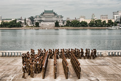 North Korean soldiers on a morning in Pyongyang