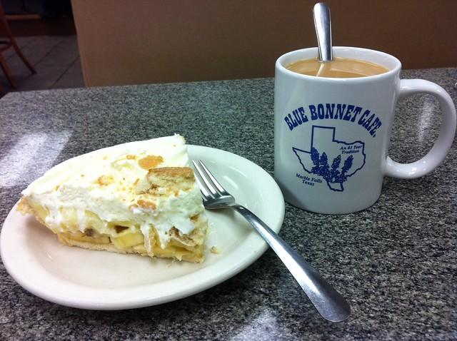 Bluebonnet Cafe - banana cream pie and coffee