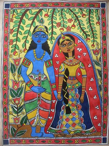 Radha Krisha madhubani style