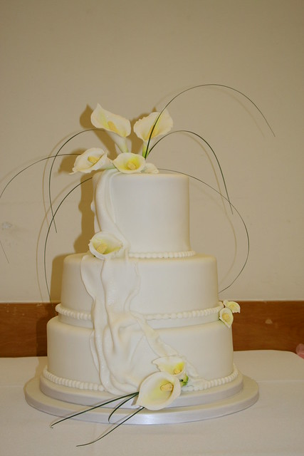 3 Tier White wedding Cake With handmade sugar Calla Lilies