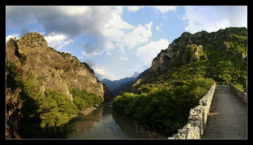 bridge blue trees sky panorama white green water clouds river landscape greece mounten epirus konitsa aoos iapetos1