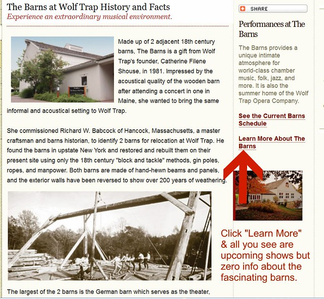 Wolftrap Barns Website Fail