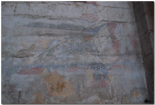 Dessin d 39 un chevalier sur un mur de l 39 glise de cadouin flickr ph - Enlever l humidite d un mur ...