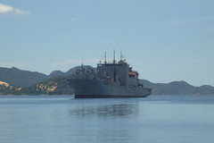 CAM RANH BAY, Vietnam (Aug. 18, 2011) Military Sealift Command dry cargo/ammunition ship USNS Richard E. Byrd at anchor while undergoing a routine seven-day maintenance availability. (U.S. Navy photo by Anh Ho)