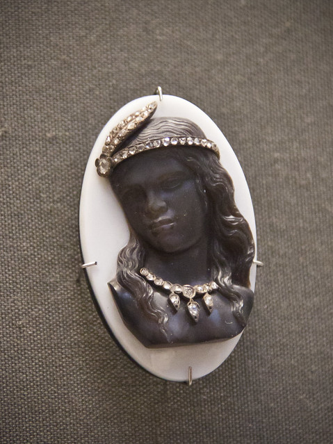 Bust of a Red Indian girl with a diamond-set feather and necklace, onyx cameo encrusted with gems, Rome, about 1870