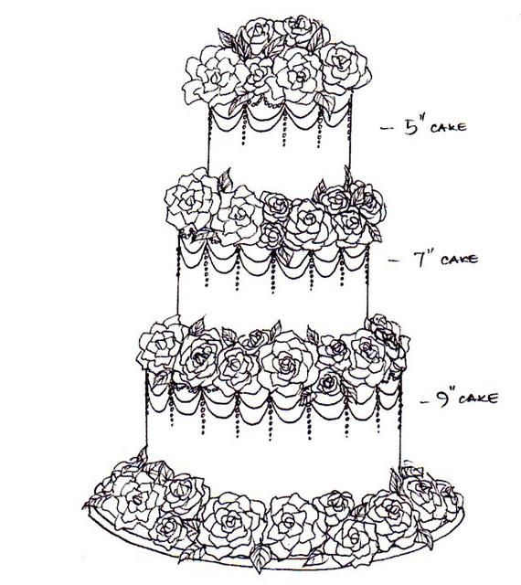 Vintage rose wedding cake sketch | Flickr - Photo Sharing!