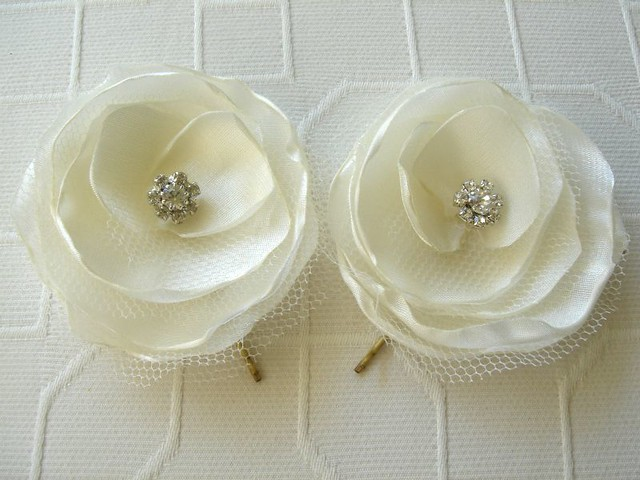 Ivory Satin Bridal and Tulle With Rhinestone Button Flower Hair Clip