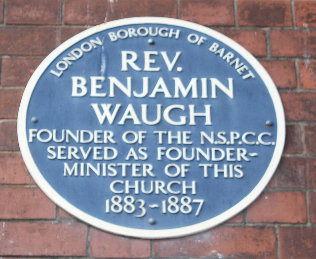 Benjamin Waugh blue plaque - Rev. Benjamin Waugh founder of the NSPCC served as founder-minister of this church 1883-1887