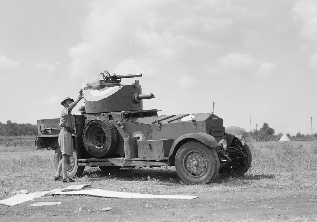 """Royal Air Force armoured car - RAF Ramleh, Palestine - A """"T"""" signal and a flare light signal being fired by officer of armoured car - circa 1930's"""
