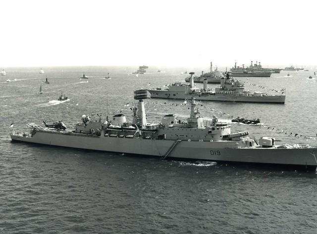 HMS Glamorgan (D19) HMS Tiger (C20) HMS Fearless (L10) HMS Hermes (R12) HMS Ark Royal (R09) Silver Jubilee Spithead Fleet Review 1977