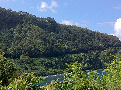 The road to Hana carves its way along the coastal cliffs