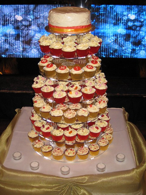 Red and Gold Wedding Tower at