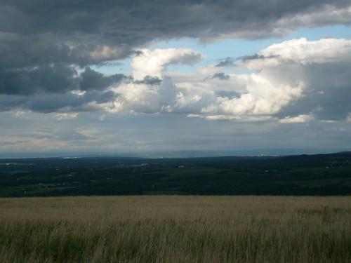 sun storm clouds brewing dark view wind front cornstalks