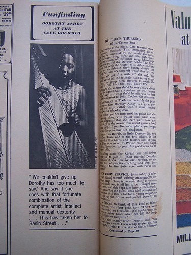 "Dorothy Ashby - Article from Detroit Magazine - Nov 13, 1966 (An Insert Supplement for The Detroit Free Press) Features Article "" Dorothy Ashby At the Cafe Gourmet"" An in depth article on Dorothy Ashby as a jazz musician."