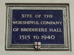 Photo of Worshipful Company of Broderers Hall blue plaque