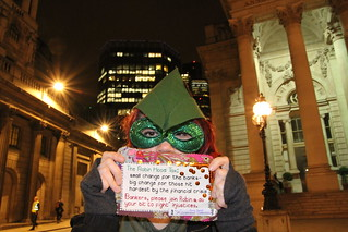 Robin Hood's Merry Craftivists urging bankers to support the Robin Hood Tax