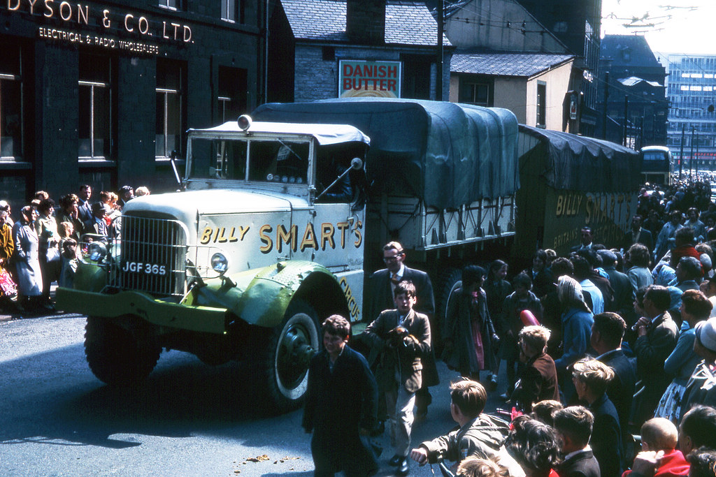 Billy Smart's Circus Parade in Bradford, 1960s, Mack NM 6x6 truck JGF 365