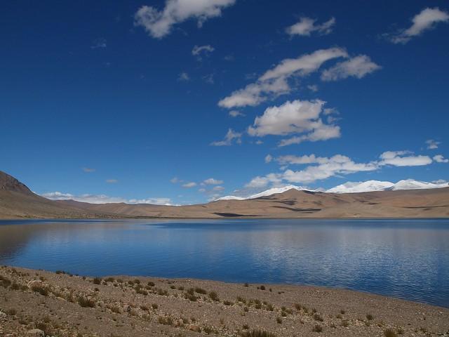 Lago salobre Tso Moriri, Ladakh, La India