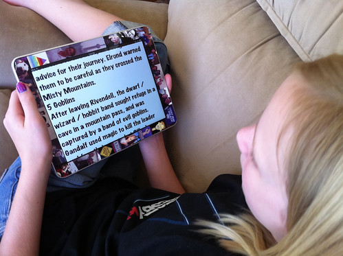 Sarah using an iPad teleprompter app