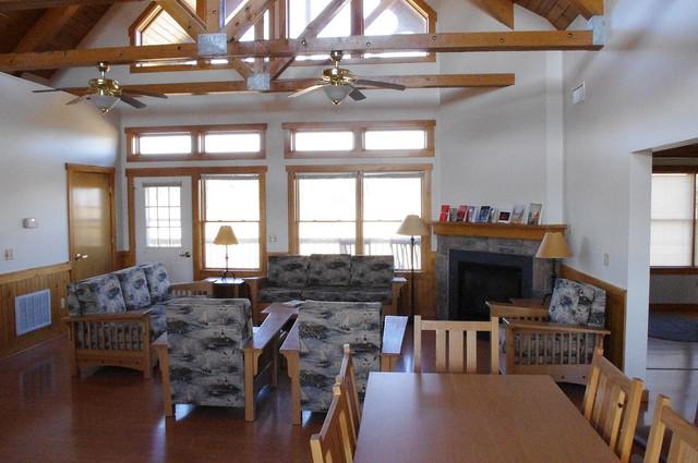 The interior of a lodge at Kiptopeke State Park.