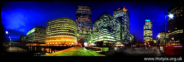 London Canary Wharf Financial District At Dusk, UK