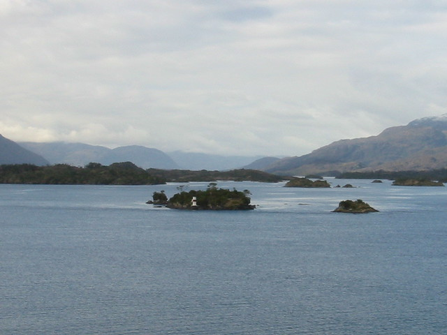 Islands and light house, approaching Puerto Edén